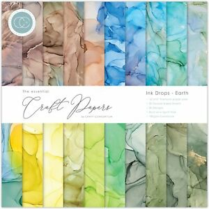 """Craft Consortium Double-Sided Paper Pad 12""""X12"""" 30/Pkg-Ink Drops - Earth, 20 Des"""