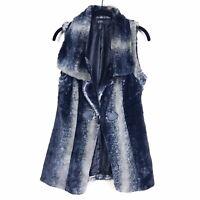 NWT Jessica Simpson Sasha Women's Gray Beige Faux-Fur Toggle Closure Soft Vest M