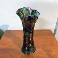 Antique Dugan Glass Lattice and Points Amethyst Carnival Glass Vase