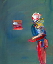 """PETER MAX BOOK  PRINT """"STANDING FIGURE"""" PASTEL ROBOT MAN AGAINST GRAY BACKGROUND"""