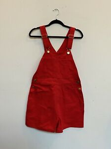 NWOT Big Bud Press Short Overalls Red Denim Size Small