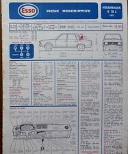 Fiche technique automobile RTA ESSO VW VOLKSWAGEN K 70 L 1972