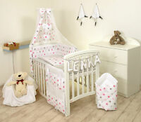 PINK STARS/GREY  BABY BEDDING SET +MORE DESIGNS COT or COT BED  MULTIAUCTION