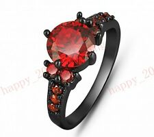 Round Cut Ruby Claw Wedding Ring Women's 10Kt Black Gold Filled Size 6-10 Band