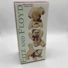 2003 Fitz And Floyd Teddy'S Christmas Tumblers Bears Set 3 New In Box