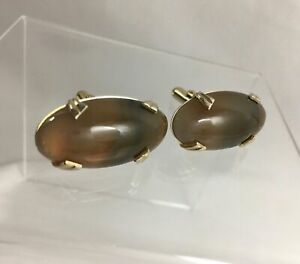 Vintage LARGE Brown Agate Cufflinks Gold Tone Polished Statement Piece Anson C1