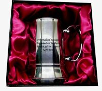 Steel tankard in Luxury Gift Box with red satin Personalised  Christmas Gift