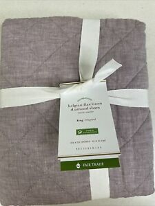 Pottery Barn Belgian Flax Linen Diamond Quilted King Pillow Sham Lavender