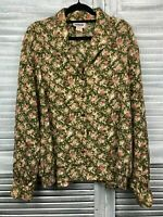 Vintage Damart Shirt Blouse Sz 16 Green Pink Button Up Floral Artsy Buttons