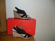 Adrienne Vittadini Coralee Womens Size 8.5 Black Wedge Sandals Shoes