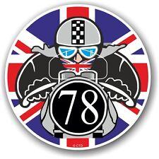 Retro cafe racer 1978 ton up club union jack drapeau cocarde vinyle voiture vélo autocollant