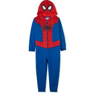 Spiderman Marvel Cotton All In One Zipped Costume Outfit pyjamas for boys 3-9