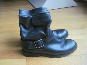 AUTHENTIC VINTAGE WOMEN'S FRYE NATALIE ENGINEER ANKLE BOOTS SIZE 8 ~BLACK~