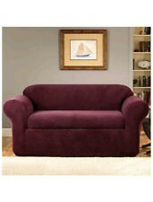 Sure Fit One Piece Loveseat Cover-Burgundy