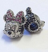 Pandora Disney Charms Portrait Full Pave Mickey & Minnie Mouse  Ltd Edition 2015