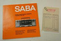 Saba RCP 685 Stereo Radio Double Cassette Bedienungsanleitung Kaufbeleg H-10870