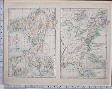 1889 LARGE ANTIQUE HISTORICAL MAP ~ INDIAN EMPIRE 1757 - 1887 NORTH AMERICA WAR