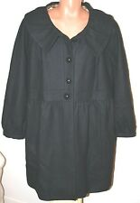 MOSSIMO TRENCH COAT WOOL WINTER JACKET baby doll PEACOAT PLUS SIZE 28/30 BLACK