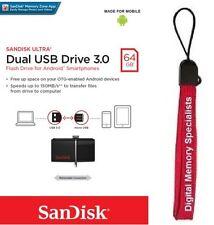 SanDisk 64GB OTG Ultra Dual microUSB 64G USB 3.0 Pen Drive SDDD2-064G +Lanyard