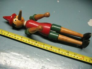 VINTAGE   PINOCCHIO  WOODEN PUPPET  12'' TALL MOVABLE ARMS LEGS ITALY OR GERMANY
