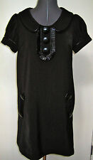 MOD KENSIE GIRL RETRO BLACK KNIT DRESS PATENT LEATHER TRIM BUTTONS LBD SMALL S