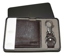 FOSSIL MEN'S LEATHER KYLE RFID PROTECTED BIFOLD WALLET WITH VALET KEY FOB BROWN