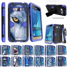 For Samsung Galaxy J3 / Amp Prime / Express Prime Holster Clip Stand Blue Case