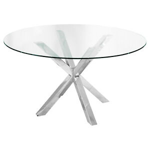 Clear Glass Crossly Round Dining Table