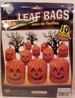 10 Plastic Halloween Jack-o-lantern Pumpkin Leaf Bags Yard Decorations Décor