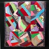 Vintage Handmade Crazy Quilt Double Knit Hand Tied Throw Blanket Farmhouse Retro