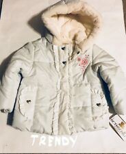 Rothschild Baby Girls White Hooded Puffer Jacket with Faux Fur Size 18M