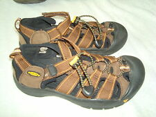 Boy's Keen Brown/Orange Leather Mesh Strappy Slip on Shoes-3