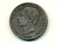 Spain:2 Pesetas,1882 * Alfonso XII * SILVER *