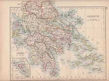 1897 victorian map ~ grèce ~ cyclades arcadia messenia attica