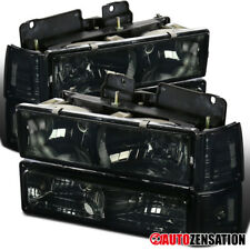 94-98 GMC C10 Sierra Yukon Smoke Headlights + Corner Bumper Lamps Head Lamps