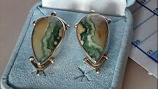 Ohrringe Ohrstecker  Tropfenform Jaspis grün 925 Sterling Silber