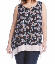 NEW NWT Karen Kane Plus Size Contrast Hem Sleeveless Print Blouse 2X Made in USA