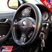 Premium Black Carbon Fiber Leather Steering Wheel Cover Protector Slip-On 2018