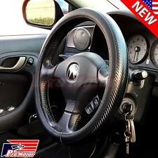 Premium Black Carbon Fiber Leather Steering Wheel Cover Protector Slip-On P3