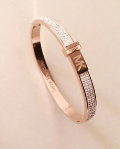 Michael Kors Bracelet Rose Gold Crystal With MK Pouch.