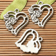 11pcs dark silver color floral flower heart design charms  EF2759