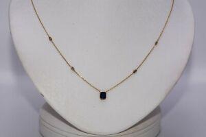 $1,500 .80CT NATURAL BLUE SAPPHIRE & COGNAC DIAMOND FIVE-STONE NECKLACE 14K