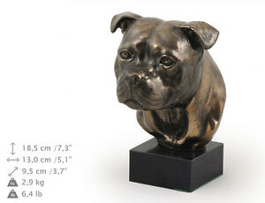 Staffordshire Bull Terrier, dog bust marble statue, ArtDog Limited Edition, USA
