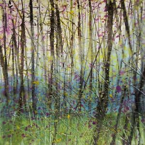 Bluebell Woods, Semi Abstract Trees / Landscape Art. Original Acrylic Painting.