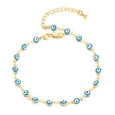 Lucky Blue Beads Enamel Evil Eye Chain Cute Bracelet Womens Yellow Gold Filled