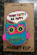 "Natural Life Owl ""Think Happy Be Happy"" Magnet Clip"