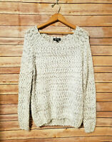 Buffalo David Bitton Fuzzy Eyelash White Knit Sweater Womens XL Soft