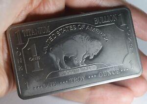 .999 Fine/Pure TITANIUM Bar. One Troy Ounce 32g. Buffalo Investment/Bullion Bar