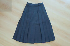 NEW WOMENS PEROCHE PLEATED LONG SKIRT BLUE WOOL SIZE 8 EUR 38 MADE IN FRANCE