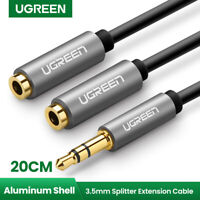 Ugreen Gray 3.5mm 1 Male to 2 Female Y Splitter Stereo Extension Audio Cable New